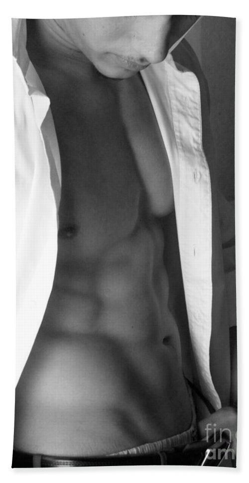 Male Abs Bath Sheet featuring the photograph Muscled Exec II In Black And White by Gary F