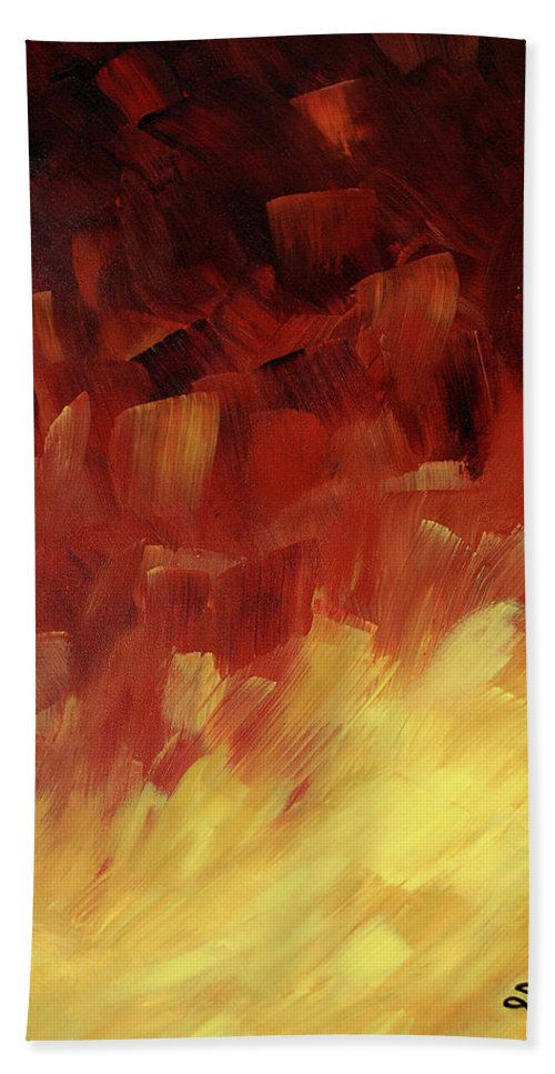 Sharon Cummings Bath Sheet featuring the painting Muse In The Fire 3 by Sharon Cummings