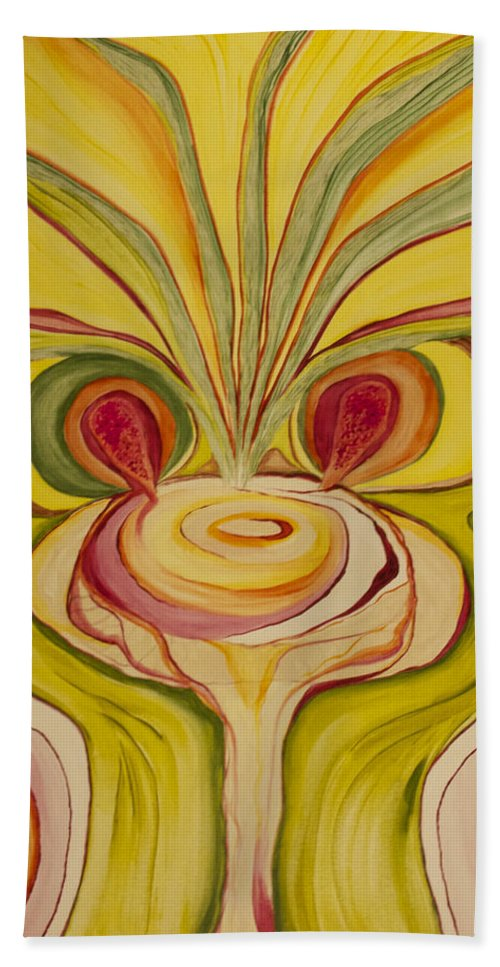 'phoenix Hand Towel featuring the painting Sage Onion Mushroom by Phoenix The Moody Artist