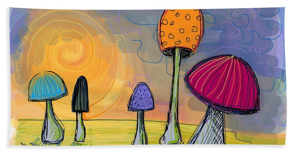 Mushrooms Hand Towel featuring the digital art Mushrooms by Kate Fortin