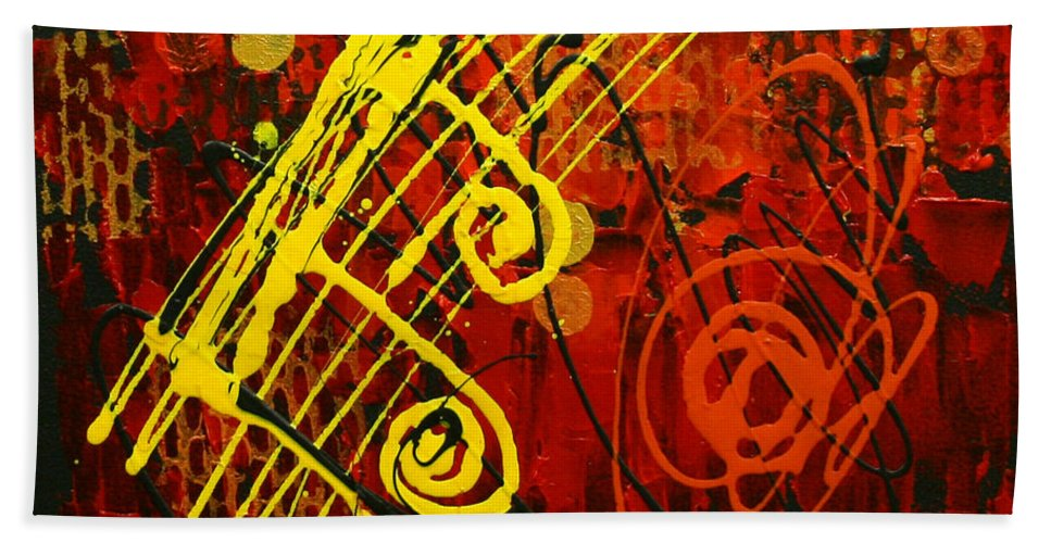 Paintings Paintings Bath Sheet featuring the painting Music 2 by Leon Zernitsky