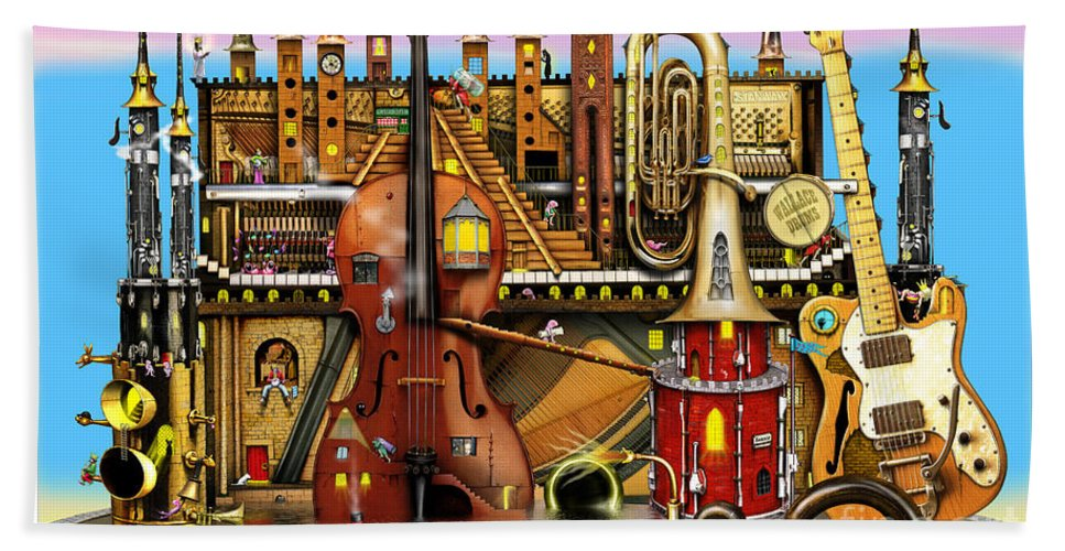 Colin Thompson Bath Sheet featuring the digital art Music Castle by Colin Thompson