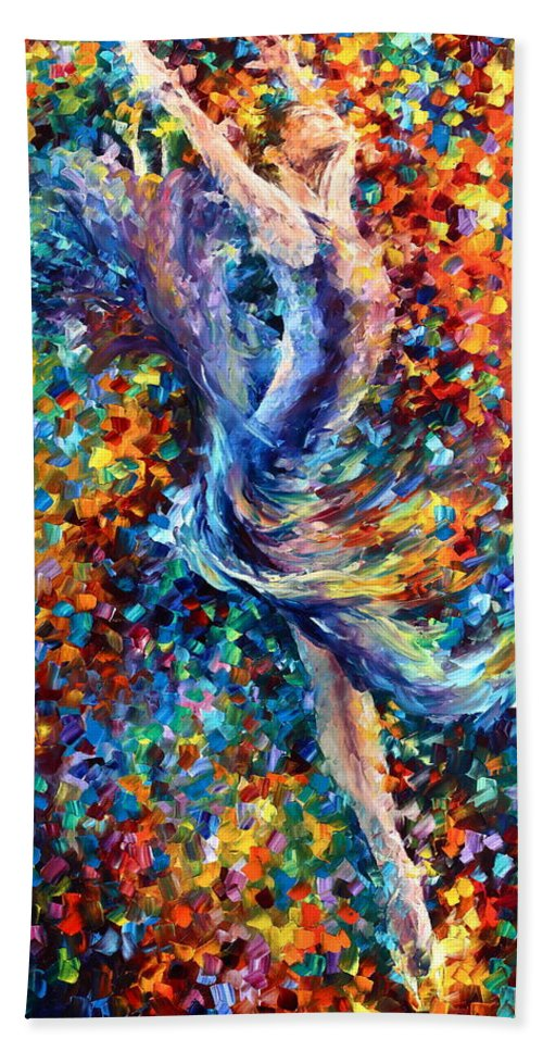 Afremov Bath Sheet featuring the painting Music Flight by Leonid Afremov