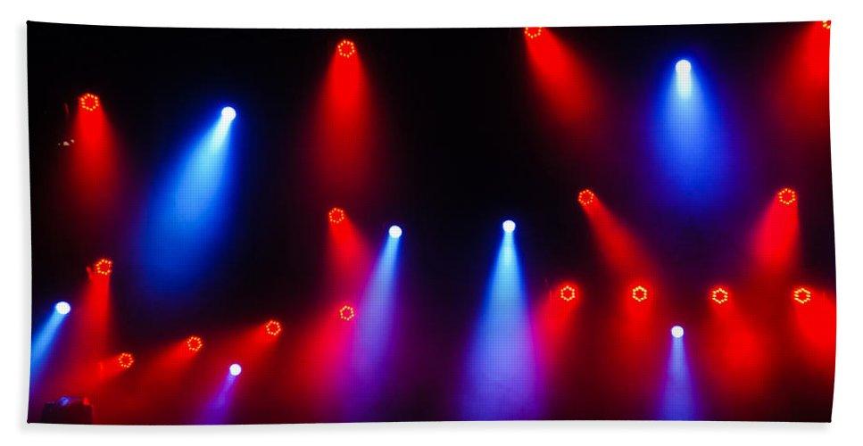 Georgia Mizuleva Hand Towel featuring the photograph Music In Red And Blue - The Wonderful Sound Of Nightlife by Georgia Mizuleva