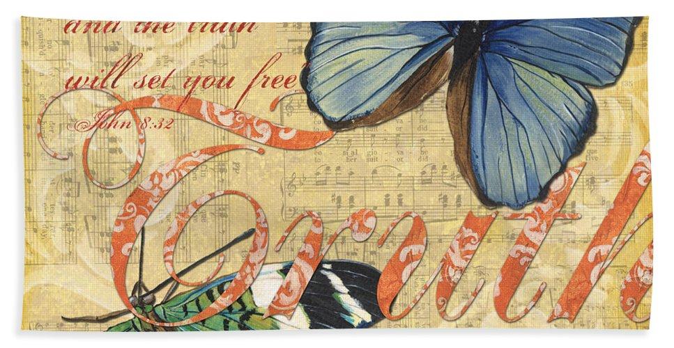 Butterfly Bath Sheet featuring the painting Musical Butterflies 3 by Debbie DeWitt