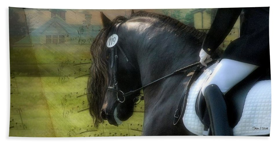 Friesian Horses Bath Towel featuring the digital art Musical Freestyle by Fran J Scott