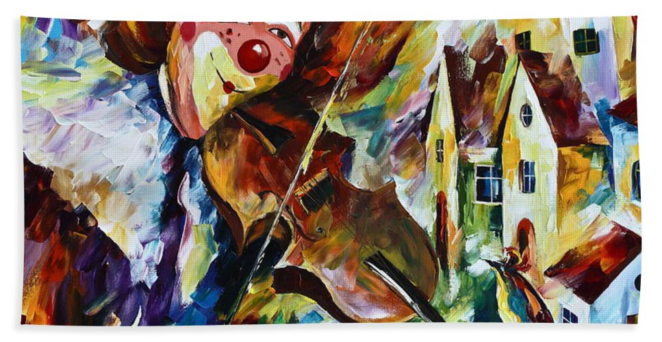 Clown Bath Sheet featuring the painting Musical Maturity by Leonid Afremov