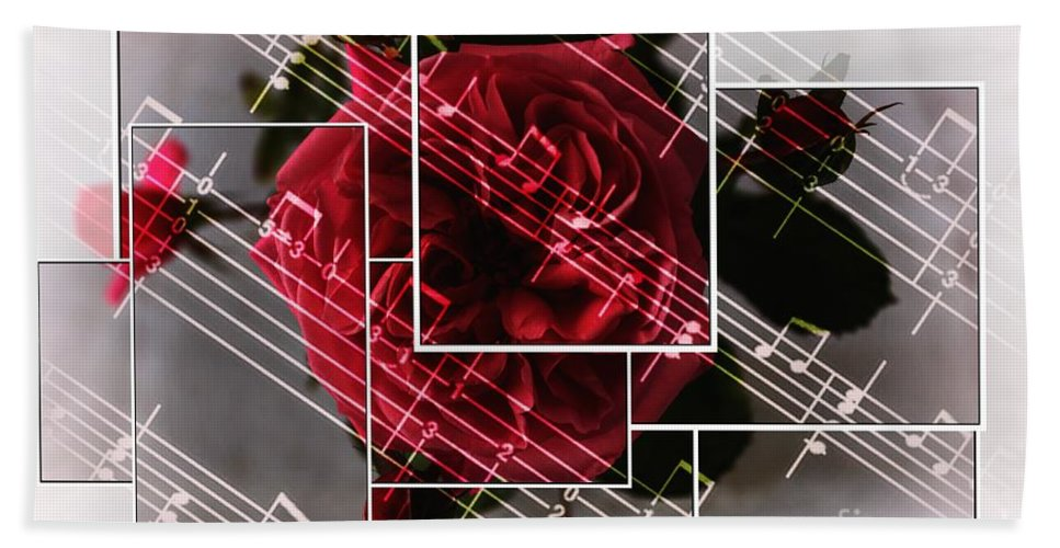 Musical Rose Montage Bath Sheet featuring the photograph Musical Rose Montage by Barbara Griffin