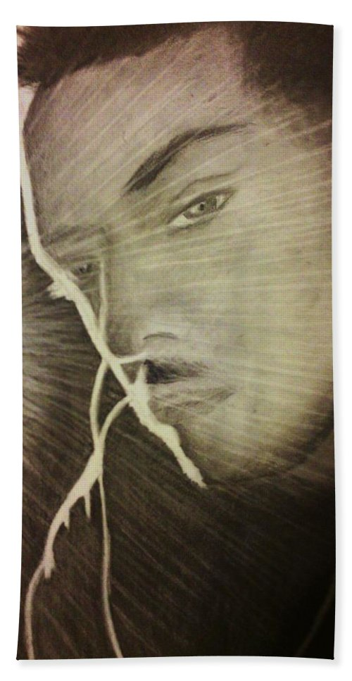 Male Hand Towel featuring the drawing Musically Mesmerized by Crystal Menicola