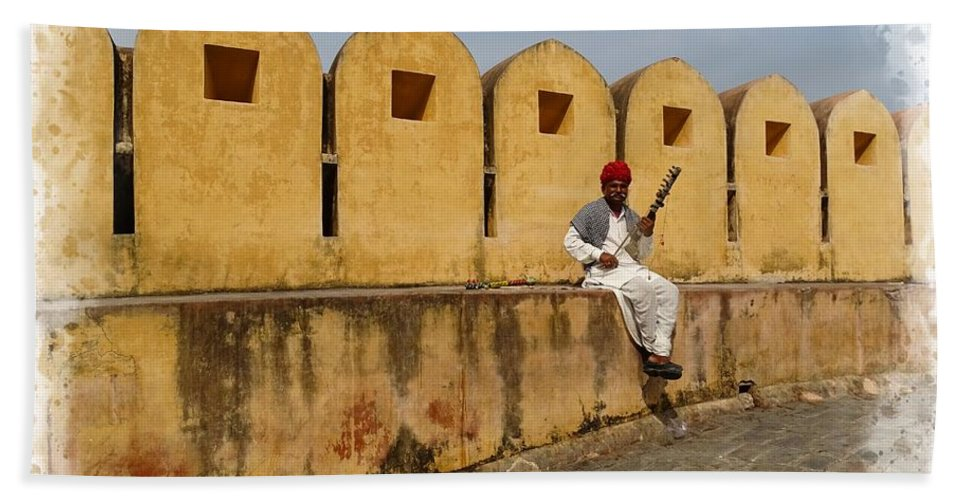 Rajasthan Hand Towel featuring the photograph Musician - Amber Palace - India Rajasthan Jaipur by Sue Jacobi
