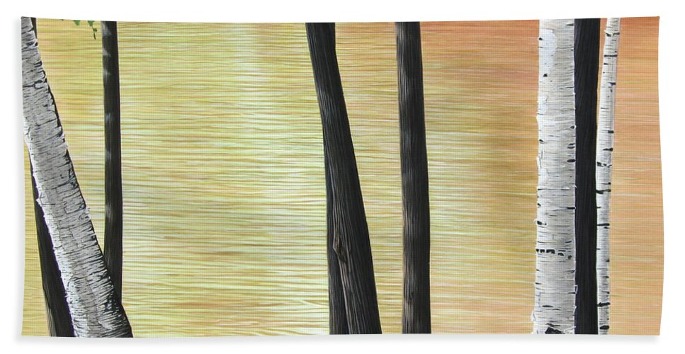 Landscape Bath Towel featuring the painting Muskoka Lagoon by Kenneth M Kirsch