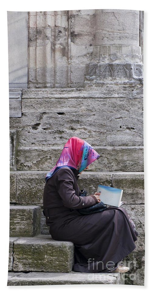 Muslim Hand Towel featuring the Muslim Woman At Mosque by Antony McAulay