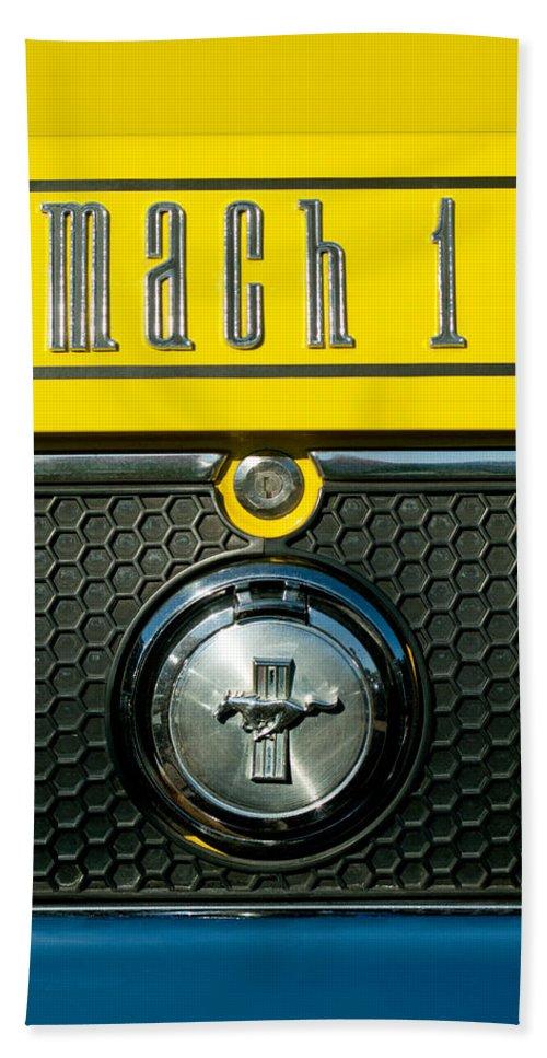 Mustang Mach 1 Bath Sheet featuring the photograph Mustang Mach 1 Emblem 2 by Jill Reger