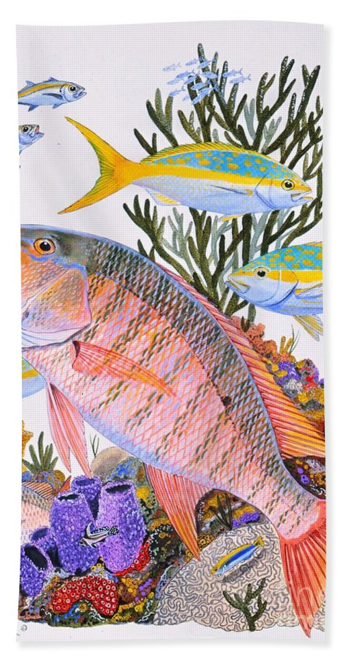Mutton Bath Sheet featuring the painting Mutton Snapper Reef by Carey Chen
