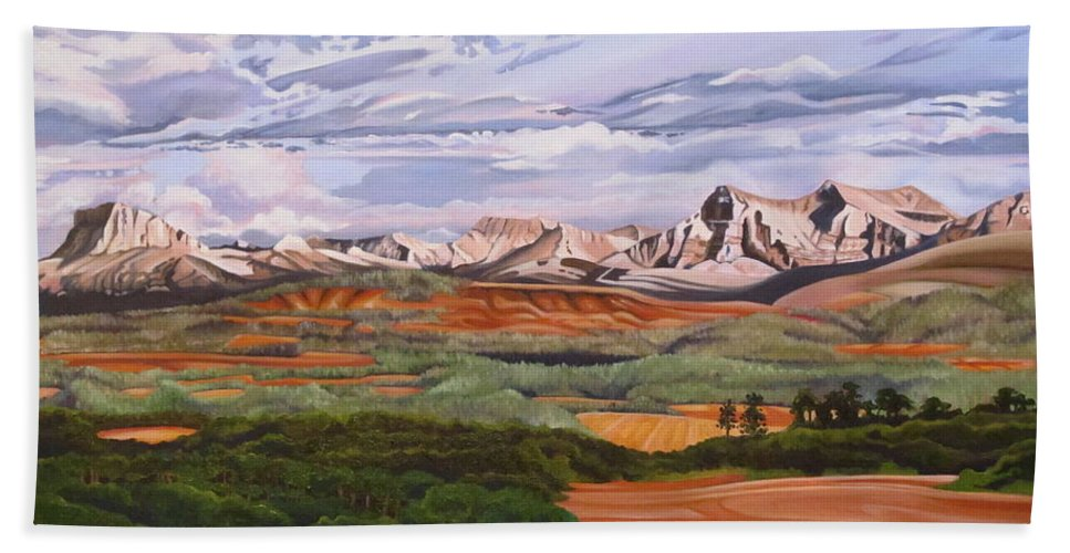 Chief Mountain Bath Sheet featuring the painting My Backyard, Waterton National Park by Elissa Anthony