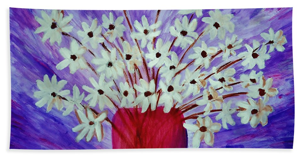 Daisy Bath Sheet featuring the painting My Daisies Blue Version by Ramona Matei