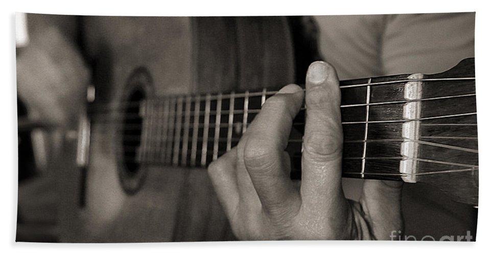 Guitar Bath Sheet featuring the photograph My Father's Hands By Diana Sainz by Diana Raquel Sainz