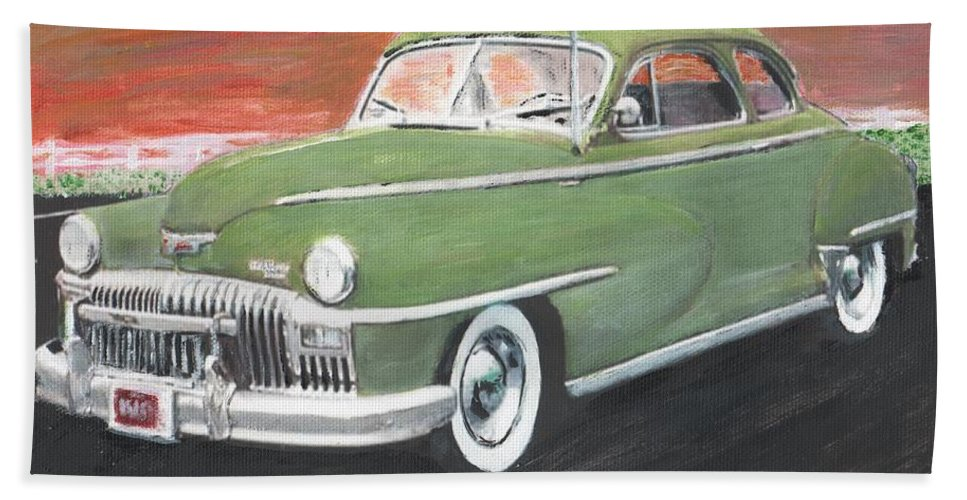 1947 Desoto Bath Sheet featuring the painting My First Car by Cliff Wilson