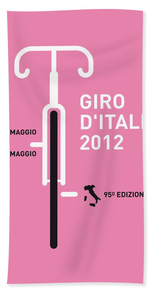 2012 Bath Sheet featuring the digital art My Giro D' Italia Minimal Poster by Chungkong Art