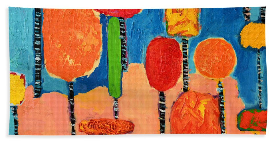 Trees Hand Towel featuring the painting My Happy Trees 2 by Ana Maria Edulescu