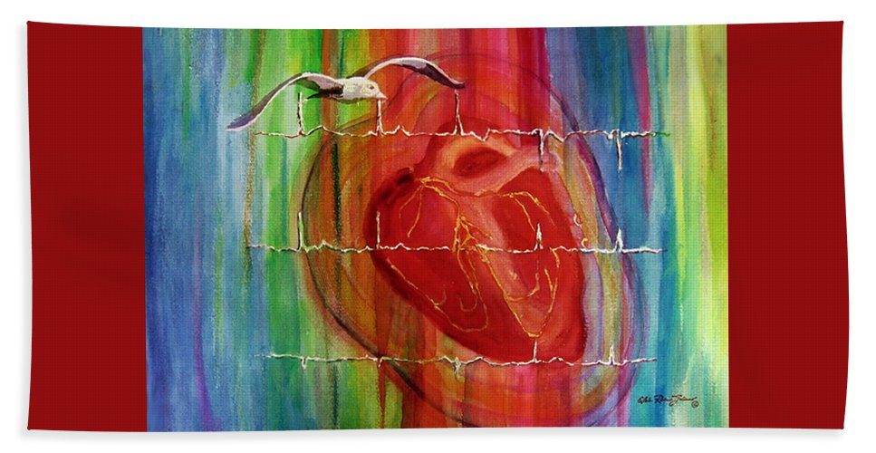 Watercolor Hand Towel featuring the painting My Hearts Echo by Estela Robles