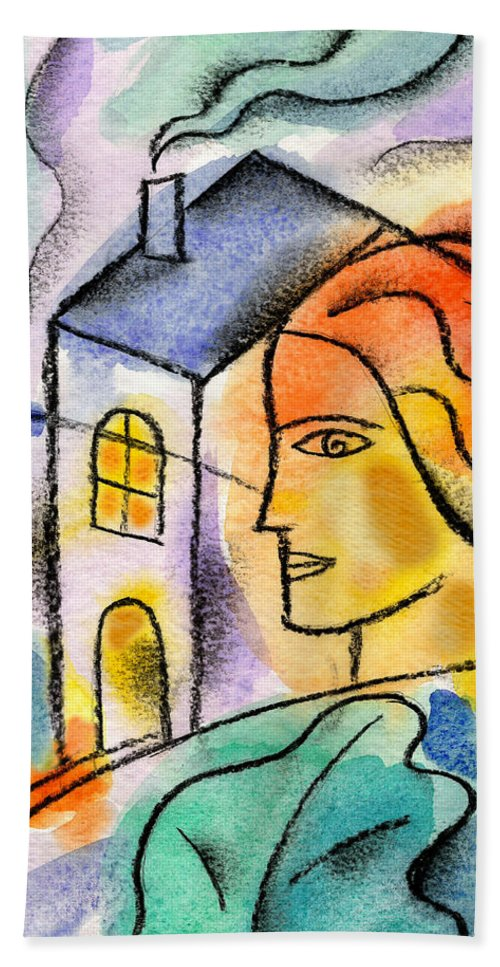 American Dream Building Chimney Color Color Image Colour Consumer Domestic Life Door Doorway Drawing Entrance Female Home House Housing Illustration Illustration And Painting Leaf Lifestyle One One Person Outdoors Outside People Person Plant Profile Side View Vertical Window Woman Hand Towel featuring the painting My House by Leon Zernitsky