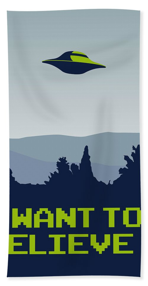 Classic Hand Towel featuring the digital art My I Want To Believe Minimal Poster by Chungkong Art