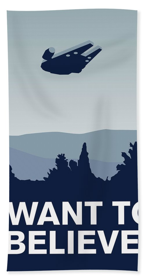 Classic Hand Towel featuring the digital art My I Want To Believe Minimal Poster-millennium Falcon by Chungkong Art
