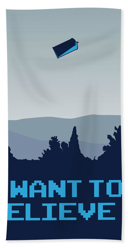 Classic Bath Towel featuring the digital art My I Want To Believe Minimal Poster- Tardis by Chungkong Art