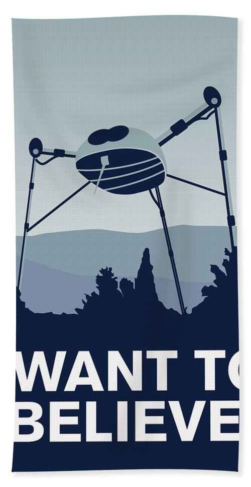 Classic Bath Towel featuring the digital art My I Want To Believe Minimal Poster-war-of-the-worlds by Chungkong Art