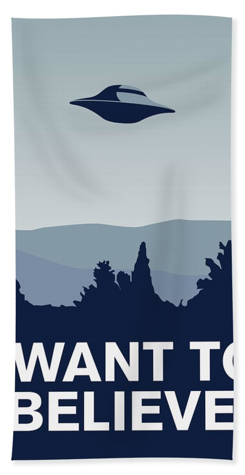 Classic Hand Towel featuring the digital art My I Want To Believe Minimal Poster-xfiles by Chungkong Art