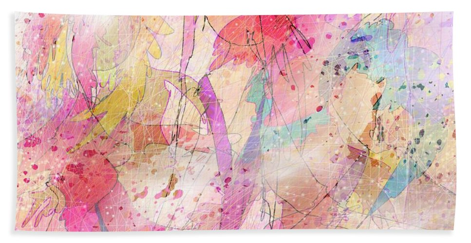 Abstract Hand Towel featuring the digital art My Imaginary Friends by Rachel Christine Nowicki