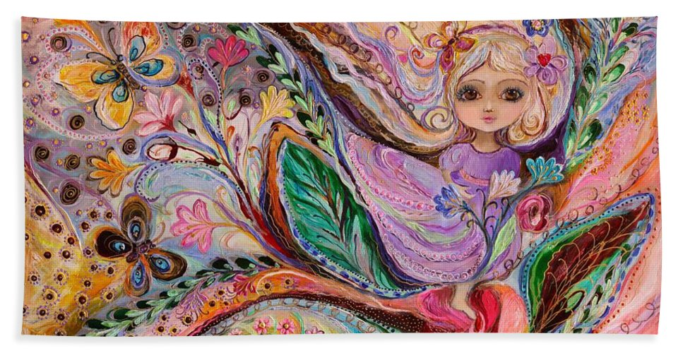 Big Eyed Girl Hand Towel featuring the painting My Little Fairy Nicole by Elena Kotliarker