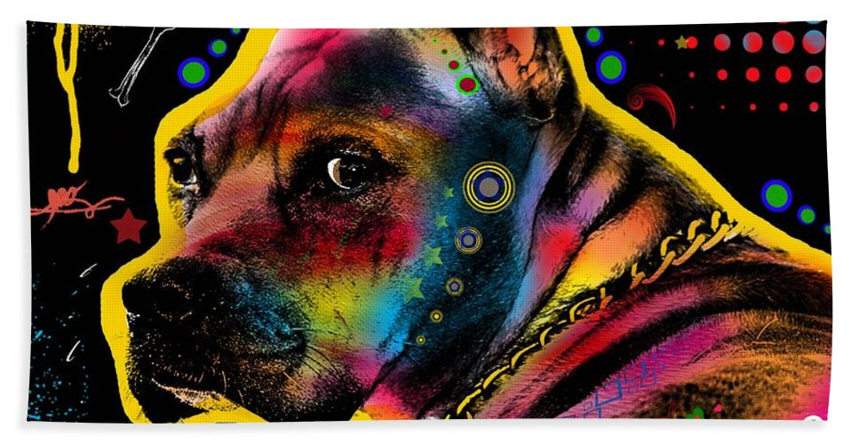Pop Art Bath Sheet featuring the digital art My Lovely Guy by Mark Ashkenazi