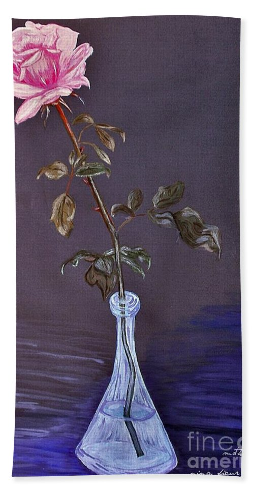 My Mothers Rose Hand Towel featuring the photograph My Mothers Rose by Nina Ficur Feenan