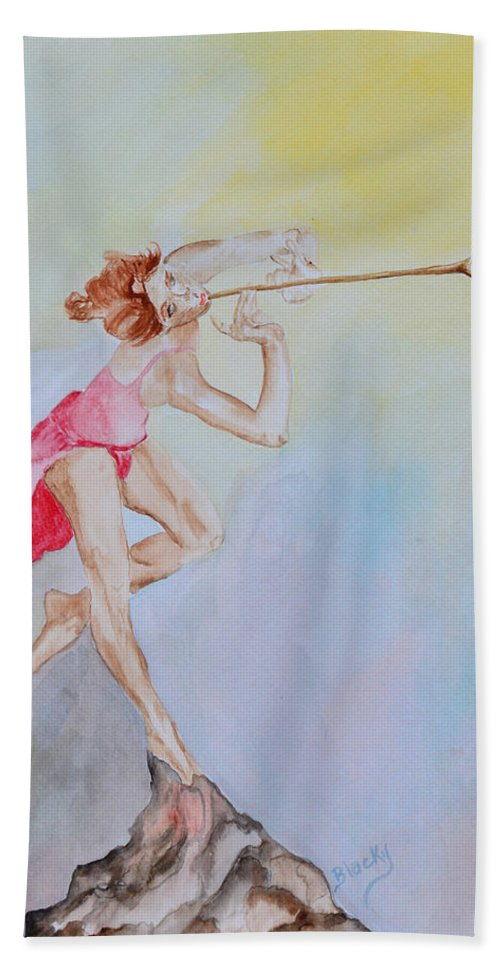 Painting Bath Sheet featuring the painting My Muse by Donna Blackhall