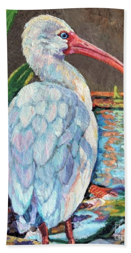 Art Bath Sheet featuring the painting My One And Only Egret by Lisa Tygier Diamond