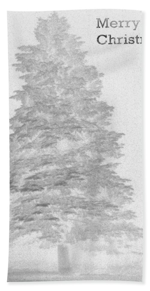 Merry Christmas To All Bath Towel featuring the photograph My Norman Rockwell Living Christmas Tree - Black And White by James Scott Preston