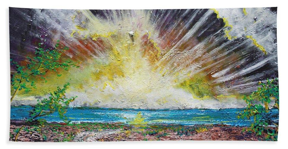 Landscape Hand Towel featuring the painting My Secret Place by Stefan Duncan