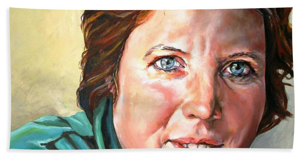 Portrait Hand Towel featuring the painting My Sister Louisette by Jolante Hesse