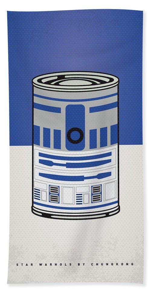 Star Bath Towel featuring the digital art My Star Warhols R2d2 Minimal Can Poster by Chungkong Art