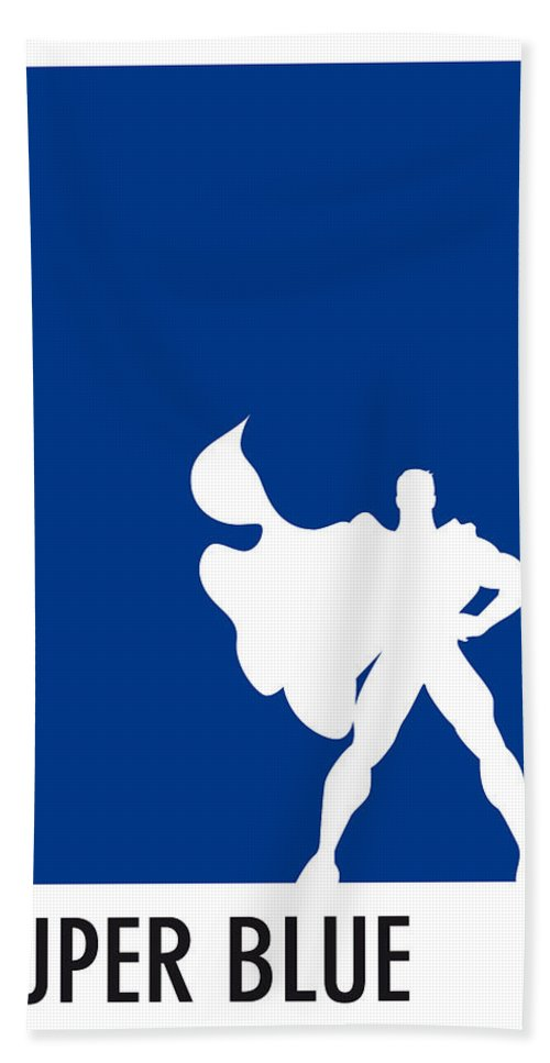 Superheroes Hand Towel featuring the digital art My Superhero 03 Super Blue Minimal Poster by Chungkong Art