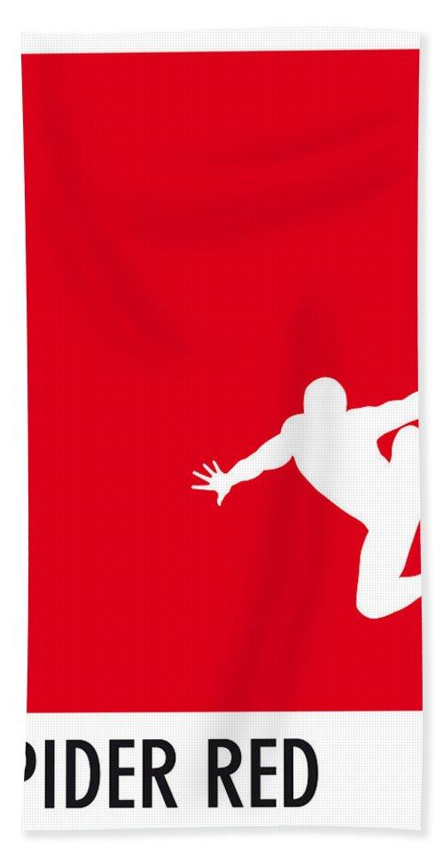Superheroes Bath Towel featuring the digital art My Superhero 04 Spider Red Minimal poster by Chungkong Art