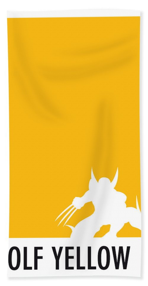 Superheroes Bath Towel featuring the digital art My Superhero 05 Wolf Yellow Minimal Poster by Chungkong Art