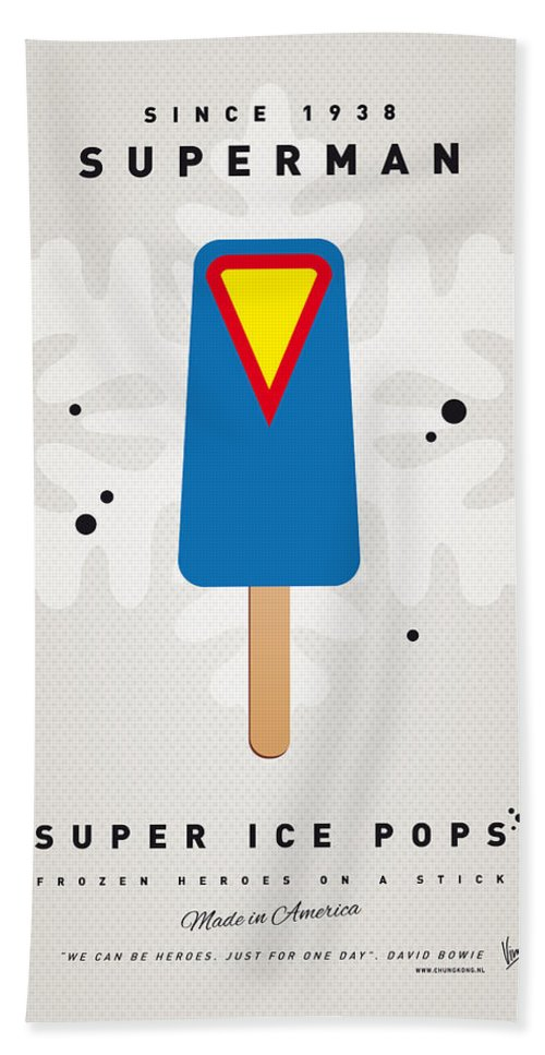 Superheroes Bath Towel featuring the digital art My Superhero Ice Pop - Superman by Chungkong Art