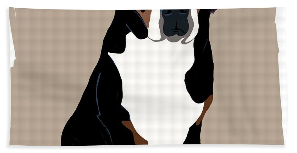 Swiss Mountain Dog Bath Sheet featuring the painting My Swissy by Karen Harding