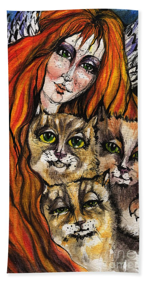 Angel Bath Sheet featuring the painting My Three Cats by Angel Ciesniarska