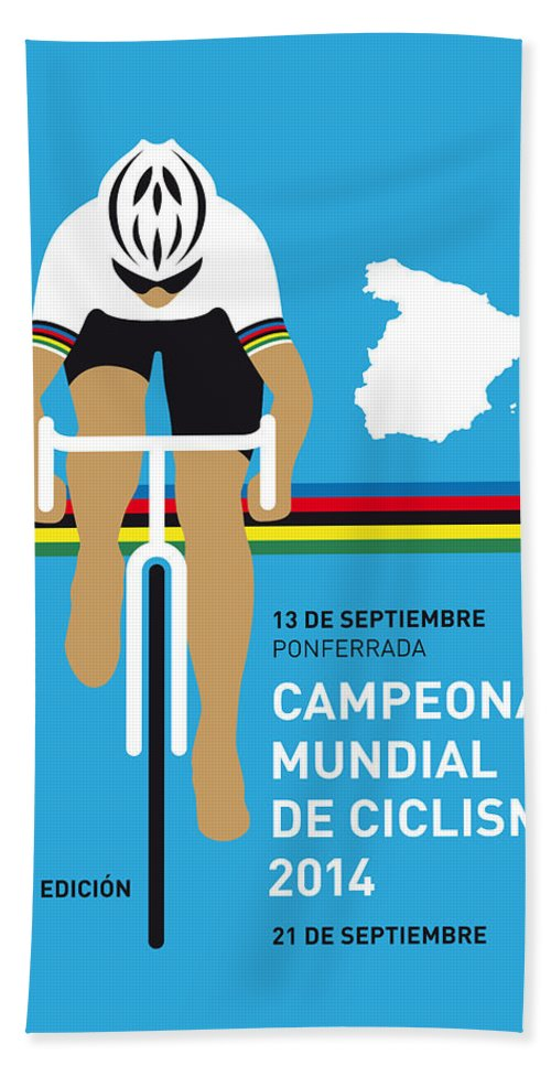 Minimal Hand Towel featuring the digital art My Uci Road World Championships Minimal Poster 2014 by Chungkong Art