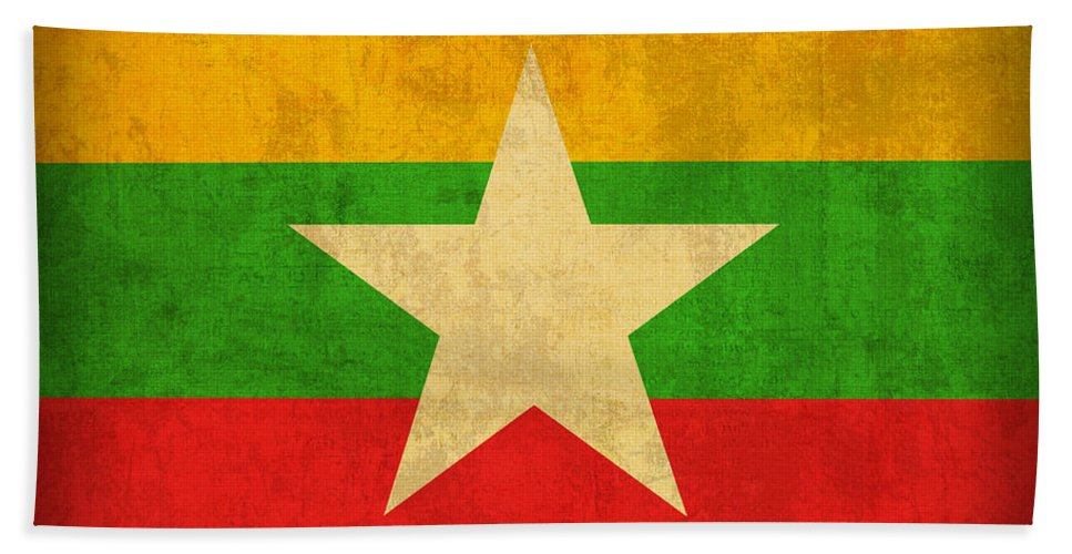 Myanmar Hand Towel featuring the mixed media Myanmar Burma Flag Vintage Distressed Finish by Design Turnpike