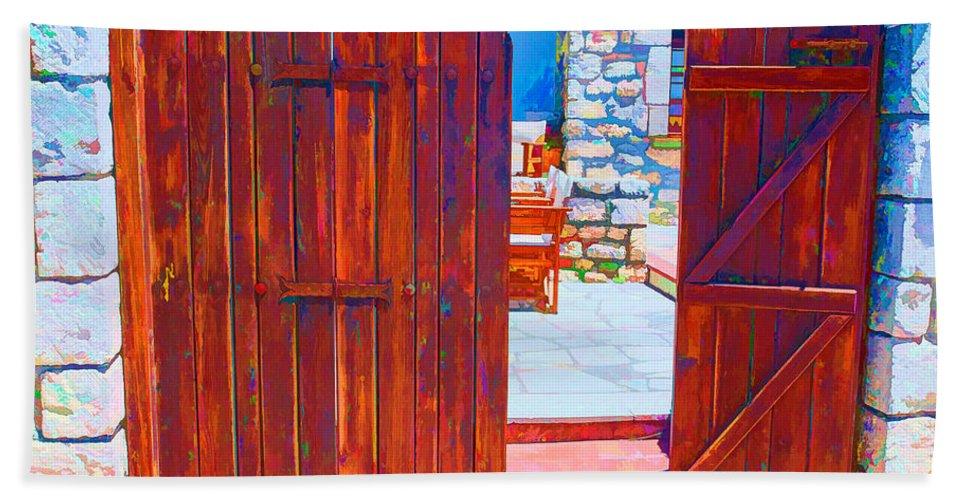 Greece Hand Towel featuring the digital art Mysterious Courtyard by Roy Pedersen